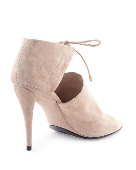 Ellen Suede Tie-Front Sandal, Ash