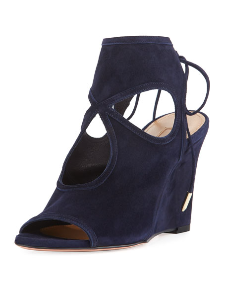 Aquazzura Sexy Thing Suede 85mm Wedge Sandal, Ink