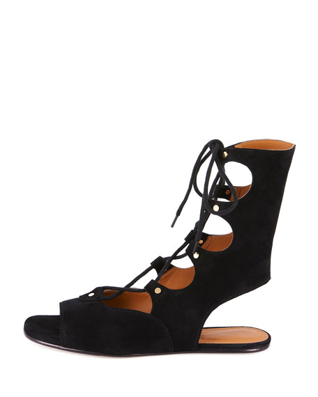 Suede Mid-Calf Gladiator Sandals, Nero