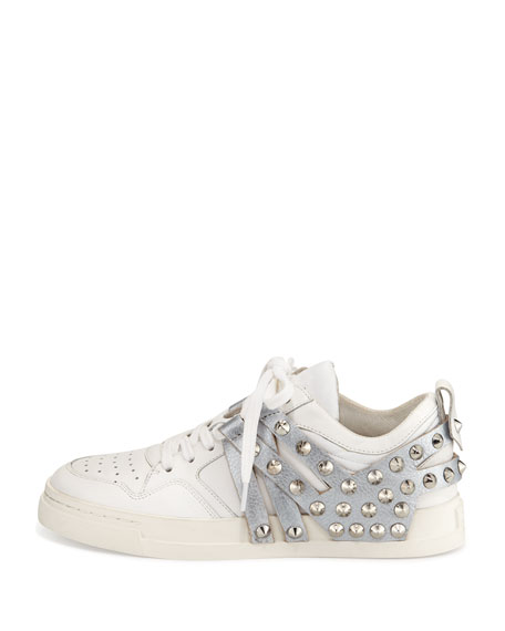 Extra Studded Leather Sneaker, White/Antique Silver