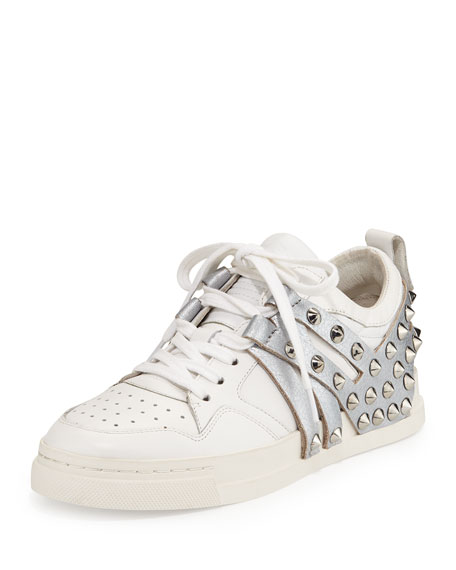 Ash Extra Studded Leather Sneaker, White/Antique Silver