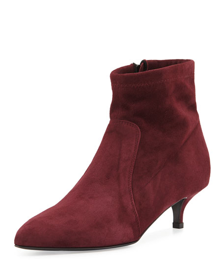 Beata Suede Kitten-Heel Bootie, Bordo