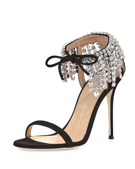 Giuseppe Zanotti Mistico Crystal Ankle-Wrap 105mm Sandal