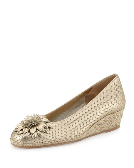 Sesto Meucci Mae Perforated Demi-Wedge Pump, Beige