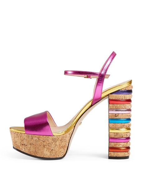 Claudie Metallic Cork Platform Sandal, Fuchsia/Gold