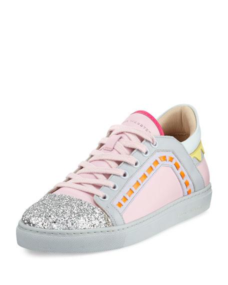 Sophia Webster Riko Glitter Cap-Toe Sneaker, Pink