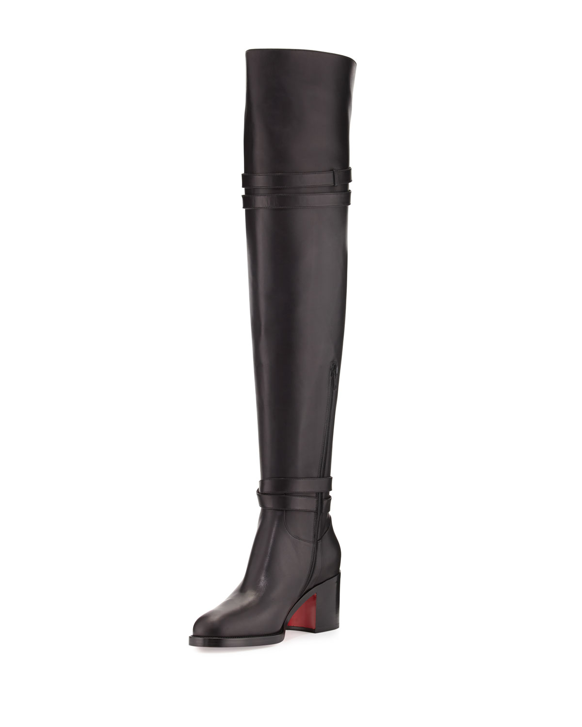91688d19ad6 Christian Louboutin Karialta Leather 70mm Red Sole Over-the-Knee ...