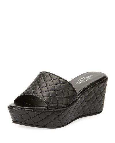 Tahnee Quilted Wedge Slide Sandal, Black