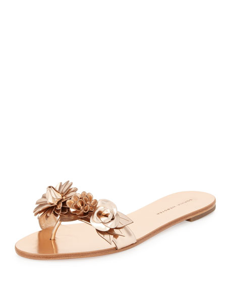 Sophia Webster Lilico Floral Flat Slide Sandal, Rose