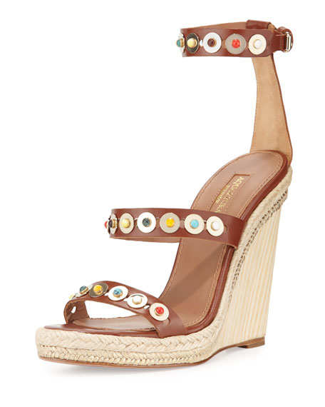Aquazzura Byzantine Studded Wedge Espadrille Sandal, Luggage