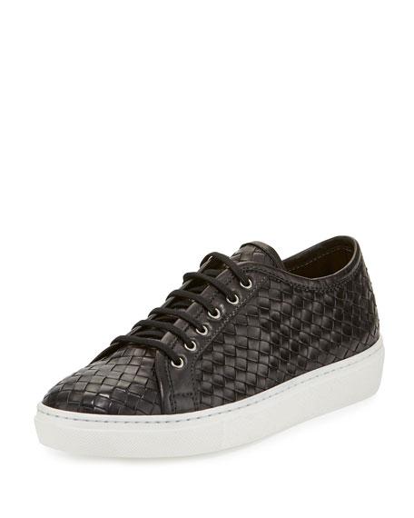 Sesto Meucci Nace Woven Lace-Up Sneaker, Black
