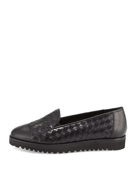 Naia Woven Leather Loafer, Black