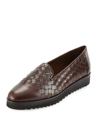 Naia Woven Leather Loafer, Dark Tan