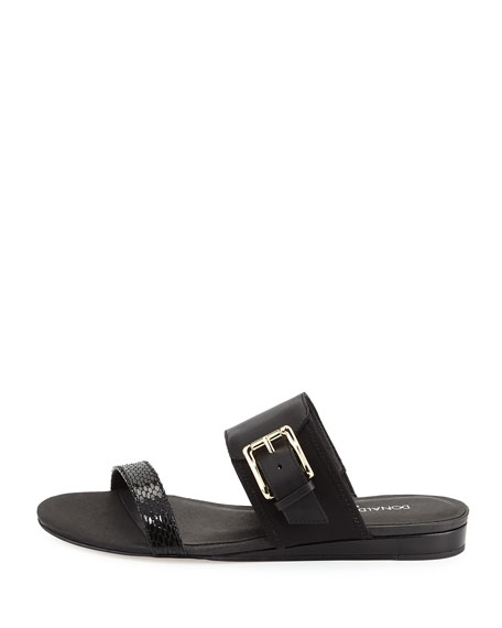 Bien Double-Strap Buckle Slide Sandal, Black