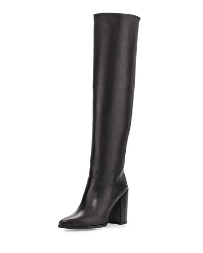 Scrunchy Leather Knee Boot, Black
