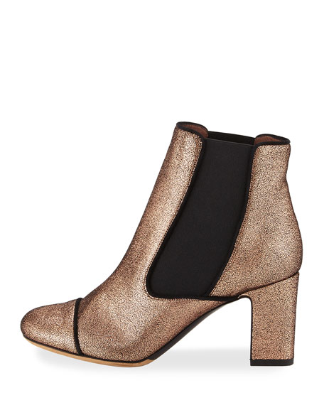 Micki Metallic Leather Chelsea Boot, Rose Gold