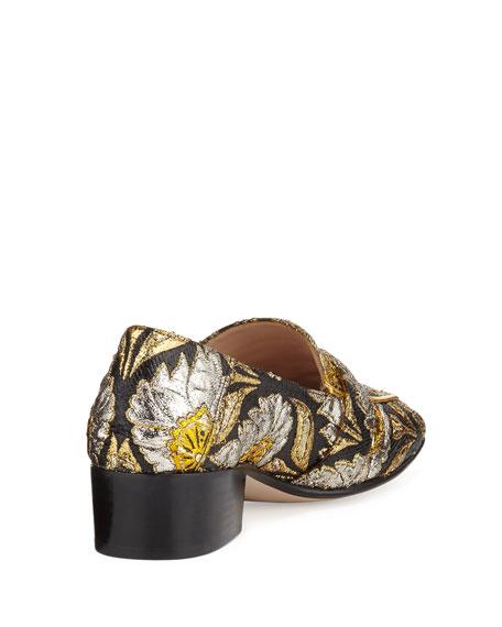 Dionysus Brocade 35mm Loafer, Brown/Oro/Nero