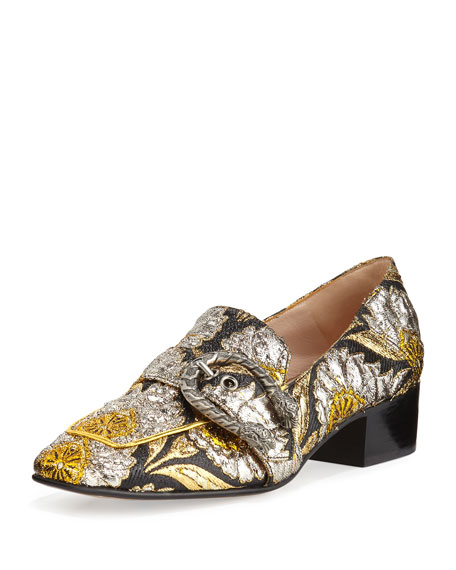 Gucci Dionysus Brocade 35mm Loafer, Brown/Oro/Nero