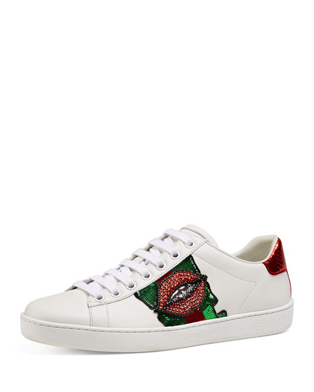 Gucci New Ace Embroidered Low-Top Sneaker, White