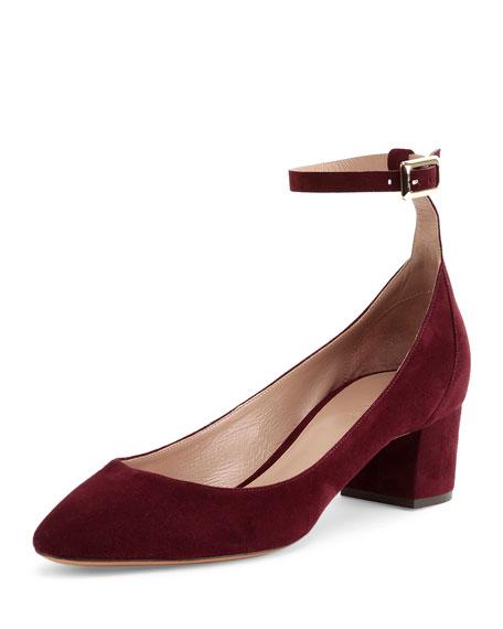 Chloe Suede Ankle-Wrap Ballerina Pump, Bordeaux