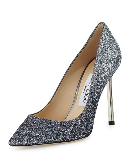 Romy Glitter Pointed-Toe 100mm Pump, Navy/Silver
