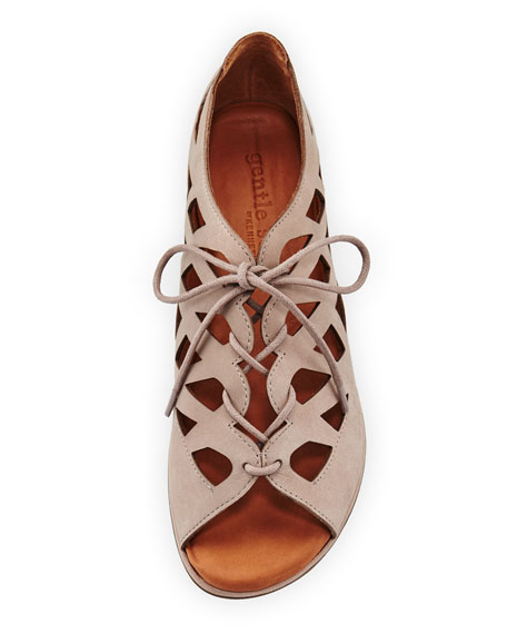 Betsi Laser-Cut Lace-Up Sandals