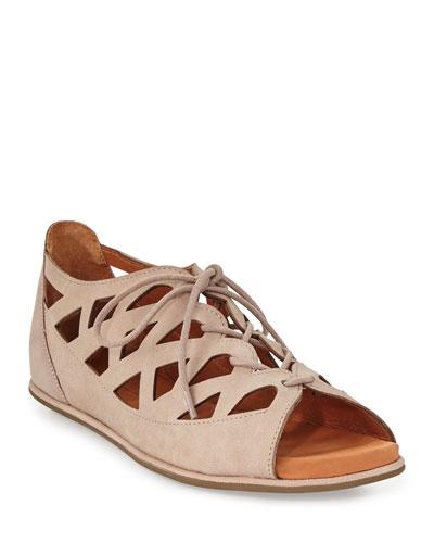 Betsi Laser-Cut Lace-Up Sandals