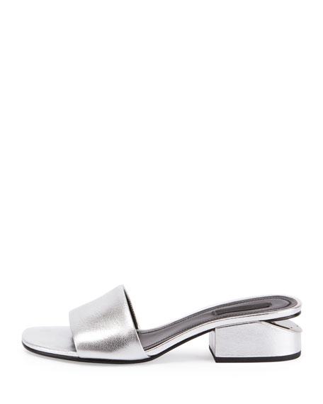 Hollie Metallic Low-Heel Mule Sandal, Silver