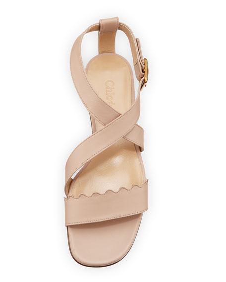 Scalloped Crisscross Flat Sandal, Nude