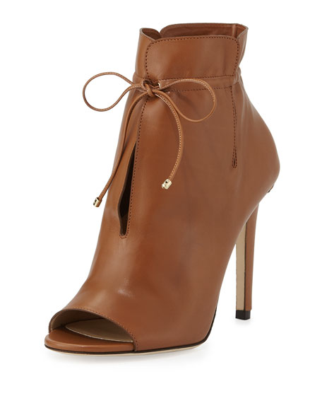 Jimmy Choo Memphis Tie-Front 100mm Booties, Canyon