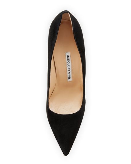 Manolo Blahnik Alba Suede 105mm Block-Heel Pumps