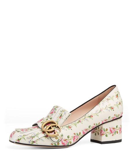 Gucci Marmont Fringe Rose 55mm Loafer, Floral/White