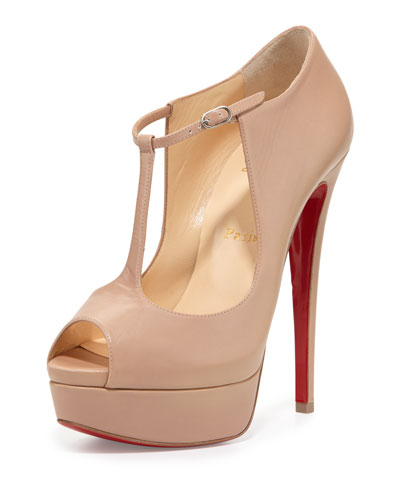 Alta Poppins T-Strap Red Sole Pump, Nude