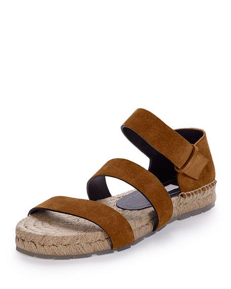 Three-Strap Espadrille Sandal, Hazelnut