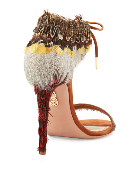 Rio Feather Ankle-Tie Sandals, Luggage
