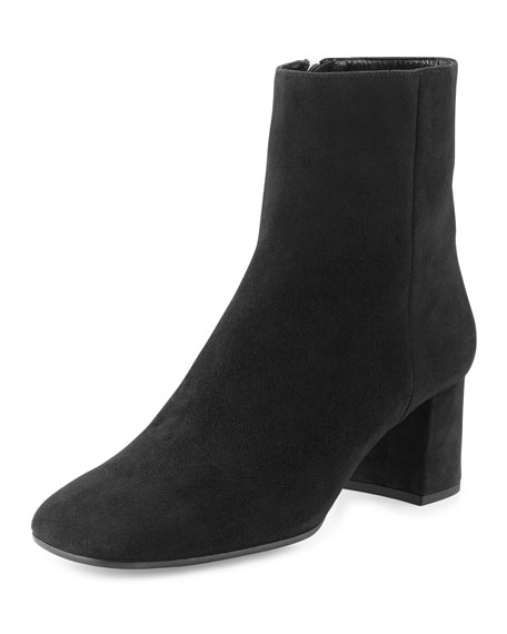 PRADA Suede Square-Toe Ankle Boot, Black (Nero)