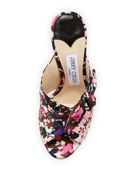Keely Printed Bow 100mm Slide Sandal, Dahlia/Brown