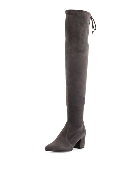 Stuart Weitzman Thighland Suede Over-The-Knee Boot, Slate