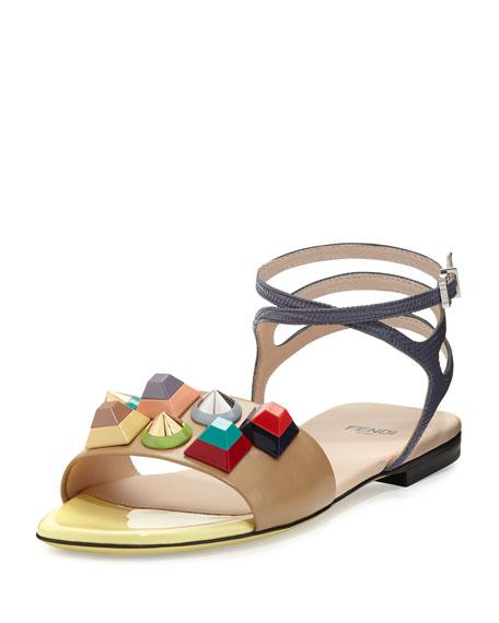 Studded Leather Ankle-Wrap Sandal, Camel Toast/Myrtle