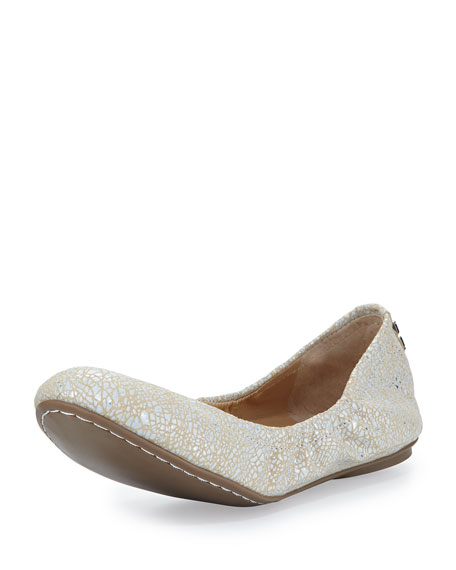 BCBGMAXAZRIA Molly Metallic Cracked Suede Ballet Flat, Beige