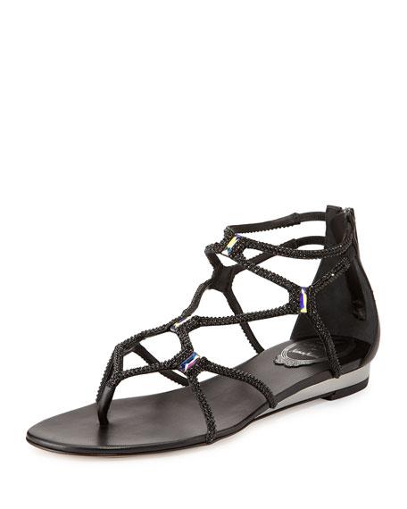 Rene Caovilla Flat Crystal Gladiator Thong Sandal, Black