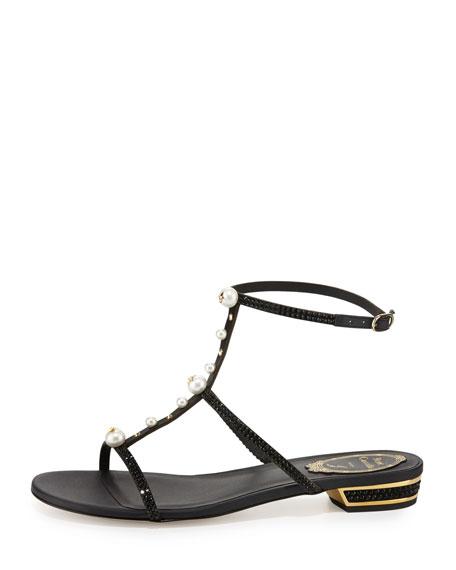 Embellished T-Strap Sandal, Black
