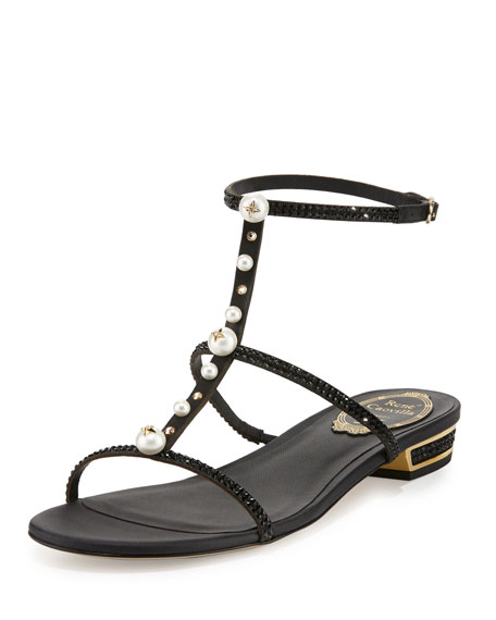 RENé CAOVILLA Embellished Leather T-Strap Sandals 8gU1yxJs0