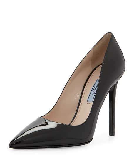 Prada Patent Pointed-Toe Pump, Black