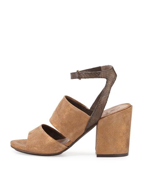 Dickie Suede Chunky-Heel Sandal, Bronze