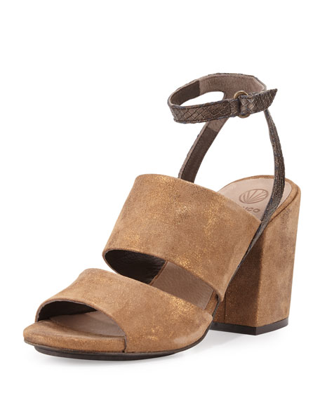Coclico Dickie Suede Chunky-Heel Sandal, Bronze