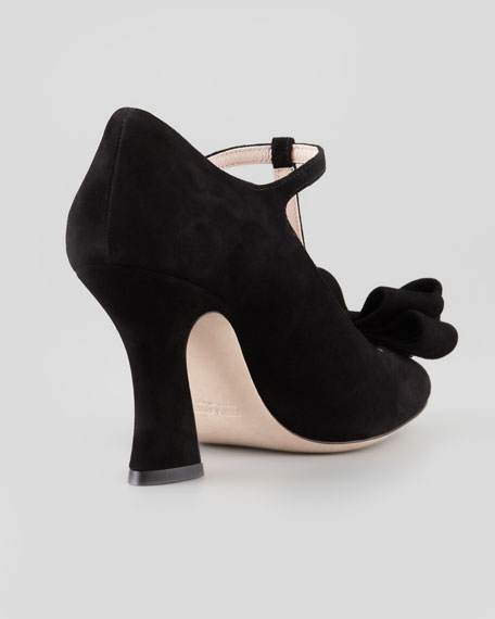 Suede Bow T-Strap Sandal