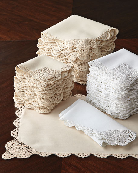 12 Crochet-Edge Dinner Napkins