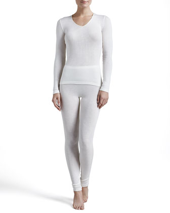 Silk-Blend V-Neck Top & Leggings