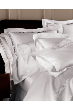 Sferra California King 1,029 Thread Count Fitted Sheet Queen 1,020 Thread Count Lace Sateen Flat Sheet